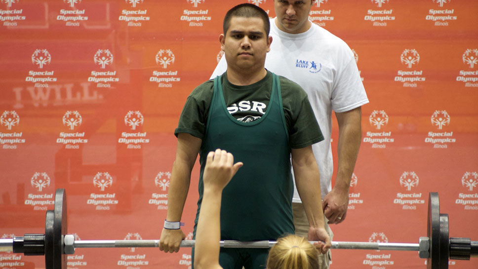 NSSRA Powerlifter Miguel Lara, Highland Park, at May's Powerlifting Area Qualifier at Welsh-Ryan Arena in Evanston.