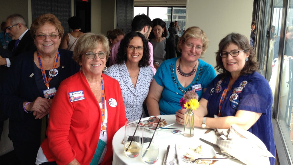 Holding an informal meeting between Democratic National Convention sessions are (from left) former state Rep. Carol Ronen (D-Chicago), Rozanne Ronen of Barrington, Illinois Attorney General Lisa Madigan, 8th Congressional District State Central Committeewoman Nancy Shepherdson of Barrington and former state Rep. Lauren Beth Gash (D-Highland Park), who is also the 10th Congressional District State Central Committeewoman. Photo courtesy of Lauren Beth Gash.