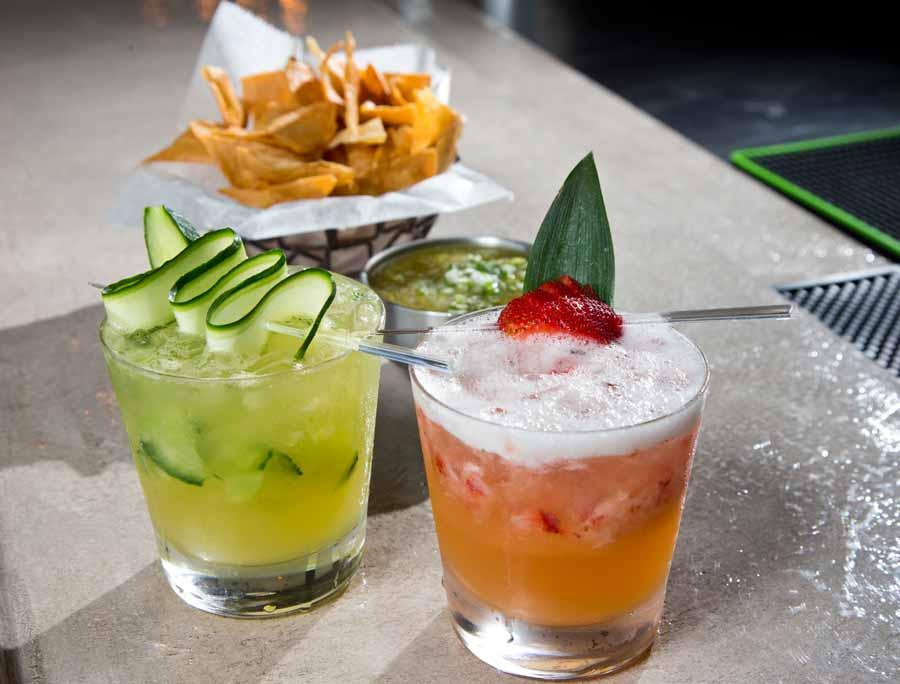 Mesa Urbana's Strawberry Pineapple Margarita and Cucumber Margarita