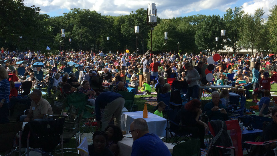 A large crowd gathered on the lawn for the Tchaikovsky concert.