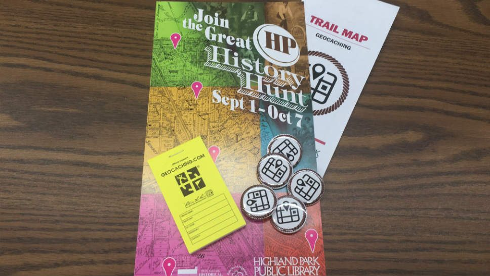A map and badges are featured in the Great HP History Hunt; photo courtesy of Julia Johnas.