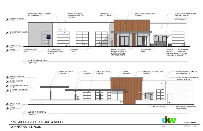 Renderings of the new restaurant planned for Green Bay Road in Winnetka; drawings courtesy of SVN | Chicago Commercial