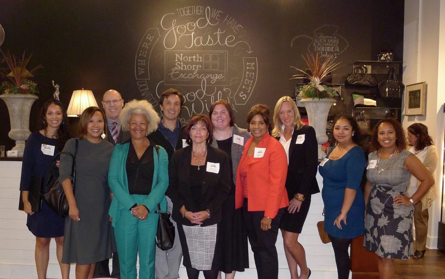 From L to R: Brenda Morales, Connections for Abused Women and their Children; Maria Kim, The Cara Program; William Hansen, Family Service of Glencoe; Colette Allen, Family Focus; Adam Alonso, B.U.I.L.D.; Robin McGinnis, Infant Welfare Society of Chicago; Kara Teeple, Lawrence Hall; Amber Webb, Lawrence Hall; Mari Christopherson, CASA — Lake County; Lissette Casteneda, Center for Changing Lives; Sol Flores, La Casa Norte.