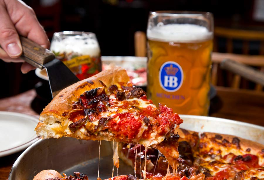 The signature deep dish pizza at The Silo in Lake Bluff. Photography by Joel Lerner/JWC Media