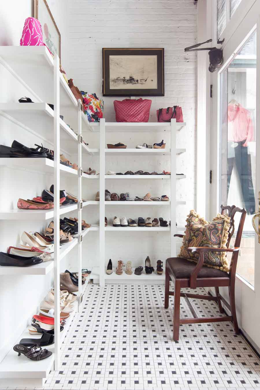 The shoe room at North Shore Exchange. PHOTOGRAPHY BY KATHLEEN PAGE