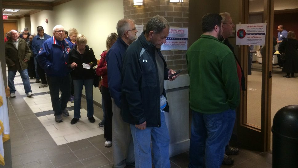 People wait in line to vote in Highland Park.