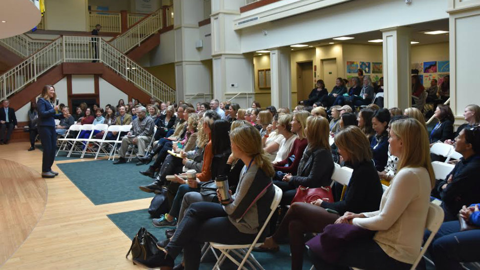 Jessica Lahey talks to a crowd of more than 150 people. Photo courtesy of Lake Forest Country Day School.