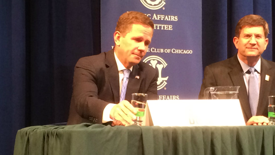 Rep. Robert Dold (R-Kenilworth) and former Rep. Brad Schneider (D-Deerfield) exchanged views at a League of Women Voters forum in Lake Forest October 16.