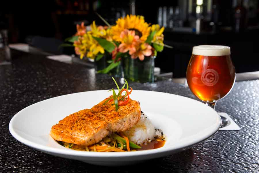 Ponzu Glazed Salmon with a pale ale called The Duke