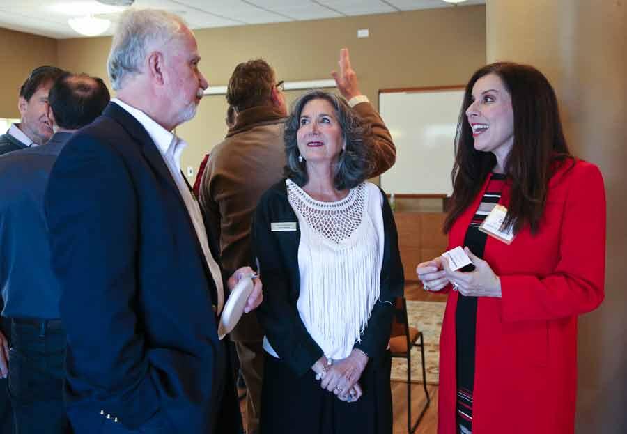 From left, Tom Walsh of First Bank of Highland Park, Infinity Foundation Executive Director Nancy Grace Marder and Debbie Smolensky a member of the foundation's board at the Infinity Foundation celebration.