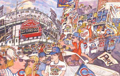 Cubs parking glicee print by Mark McMahon