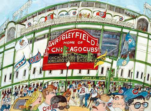 Chicago Cubs baseball, glicee print by Mark McMahon
