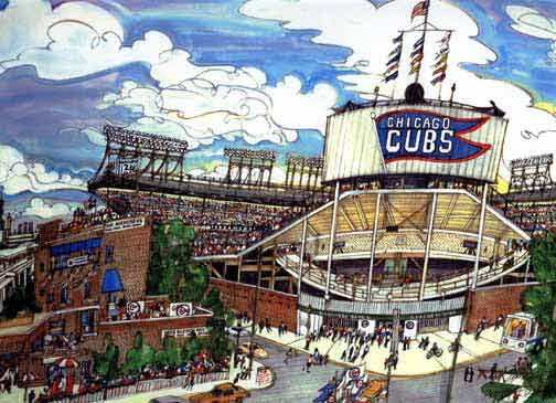 Cubs at Wrigley glicee print by Mark McMahon