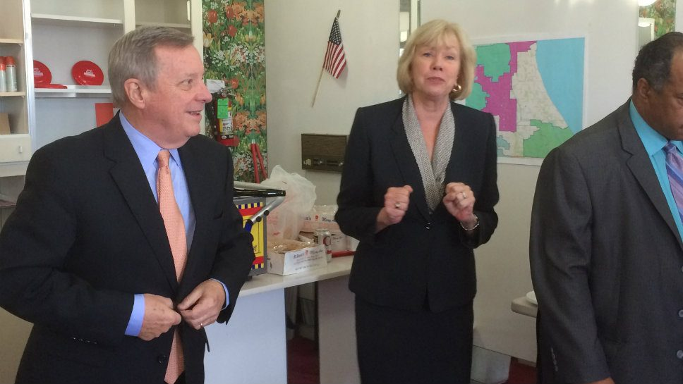 Sen. Richard Durbin (D-Springfield) tells a group of campaign volunteers for state Sen. Julie Morrison (D-Deerfield) he will not run for governor of Illinois in 2018 during a stop in Deerfield.