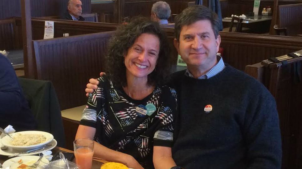 Former Rep. Brad Schneider (D-Deerfield) has breakfast with his sister Tracey Pliskin on election day.