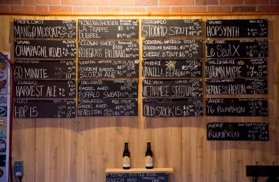 The current list of beers on tap at Art of Beer in Highwood. Photography by Joel Lerner/JWC Media