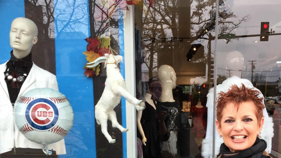 Betts Goat Curse window display with Louise Shulkin; photo courtesy of Bett Barnett.