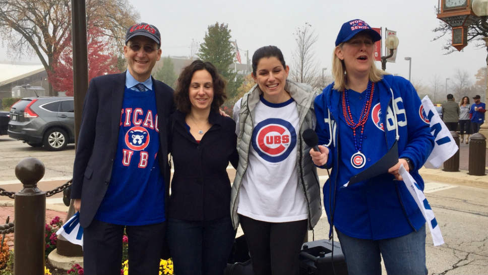 City Council Members and Cubs Fans; From left: Councilman Dan Kaufman; Councilman Alyssa Knobel; Councilwoman Kim Stone and Mayor Nancy Rotering.