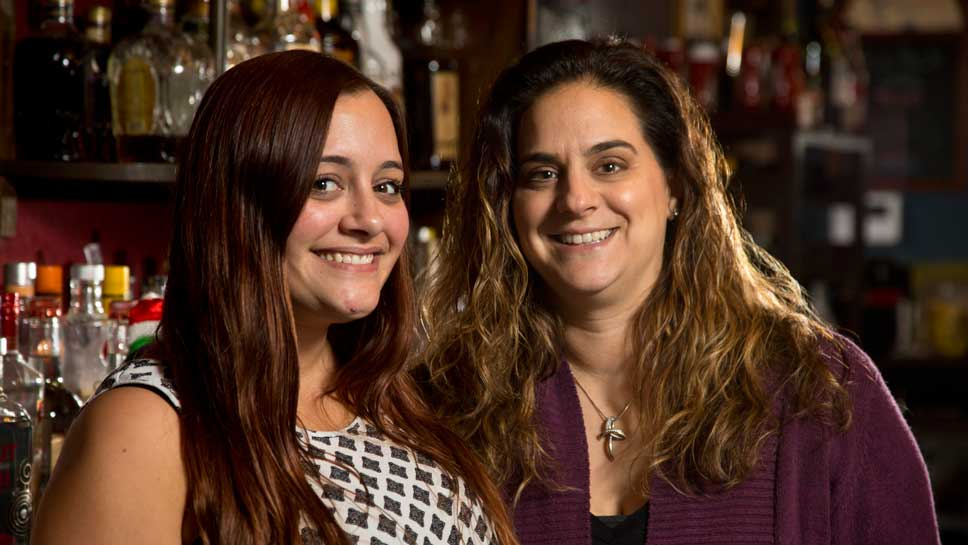 Kaylee Dziervynski the bartender (left) and Helene Kapetaneas owner at The Landmark Inn Bar and Grille in Northbrook.
