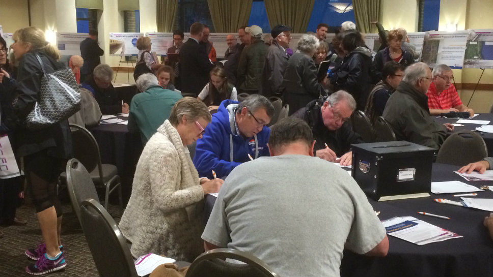 Scores of North Shore residents gave their input on proposed railroad holding tracks to state and federal authorities during an open house November 2 in Glenview.