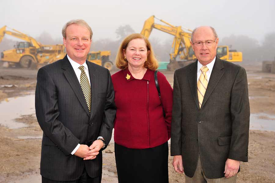 From left,  Lake Forest Mayor Donald Schoenheider, Rosemary Kehr, plan commissioner, and Mike Ley, chairman of the plan commission, at the Kelmscott Park groundbreaking event, Thursday morning in Lake Forest. PHOTOGRAPHY BY STEVE HANDWERKER/JWC MEDIA