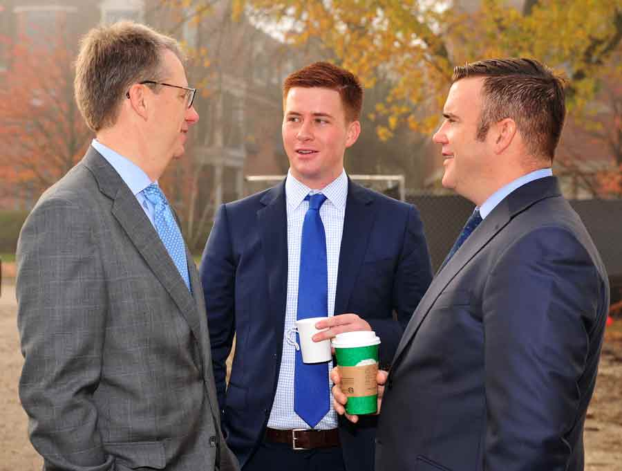 From left, Patrick Harrington, AVP, Wintrust, Gregory Warsek, SVP, Associated Bank, and Darragh Griffin, EVP, Wintrust, talk at the Kelmscott Park groundbreaking event