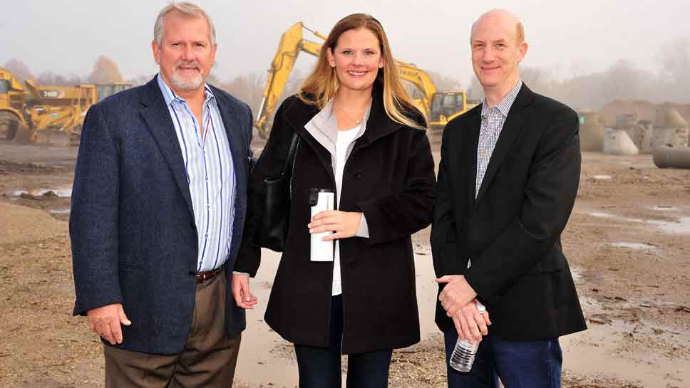 From left, Orren Pickell, CEO, Lisa Pickell, COO, and John Forehand, chief architect, all of Orren Pickell Building Group, talk at the Kelmscott Park residential property groundbreaking event, THursday morning in Lake Forest.