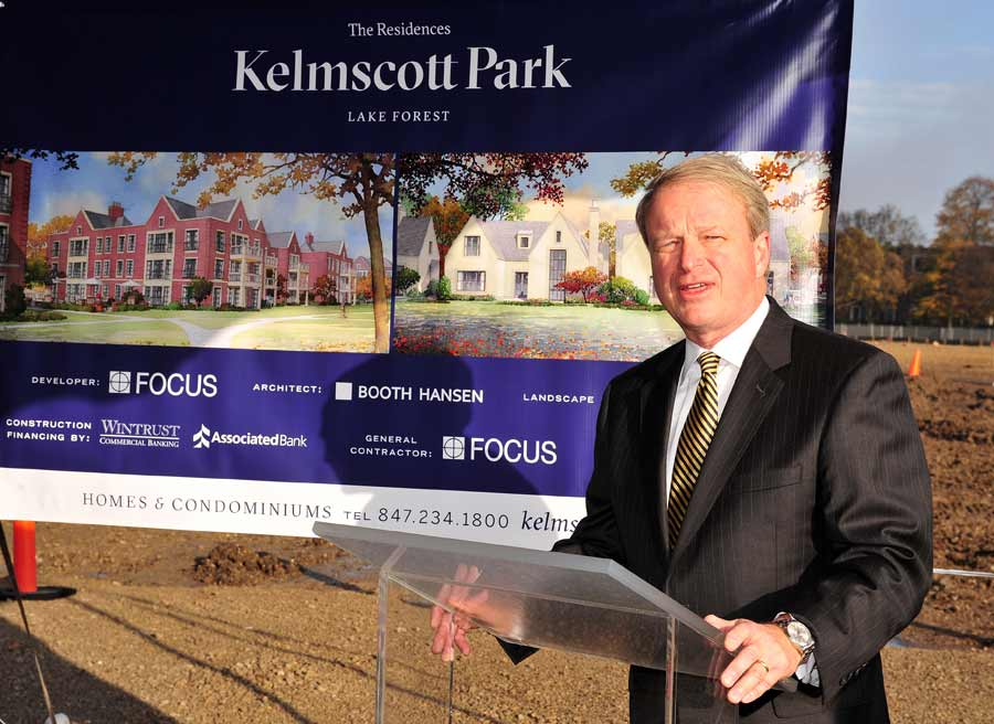 Lake Forest Mayor Donald Schoenheider greets attendees at the Kelmscott Park residential property groundbreaking ceremony, Thursday morning in Lake Forest.