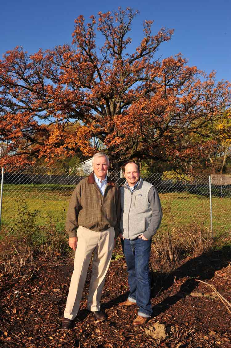 Fred Wacker (left), president, Mariani Landscape, and Seth Dreier, project architect, Mariani Landscape, stand in front of the 130-year-old white oak which has been required to remain on the Kelmscott Park residential community property, Thursday morning in Lake Forest.