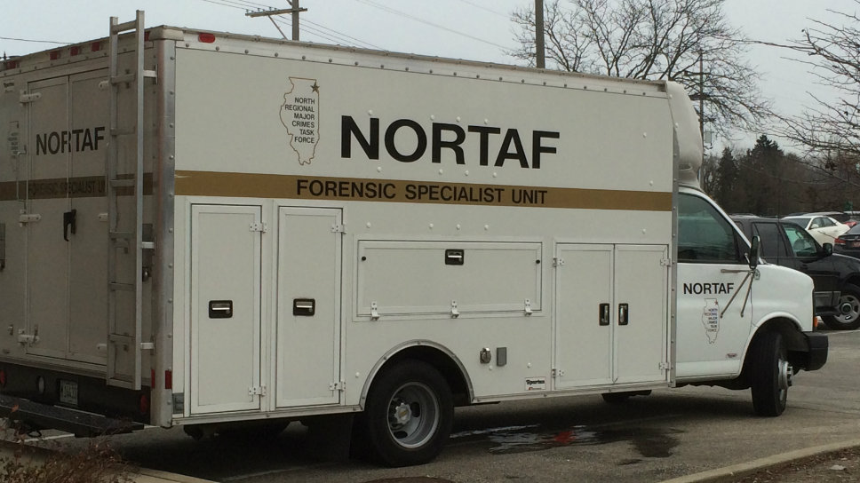 At least a dozen NORTAF investigators including its forensic unit were seen at the Shermer Road office building at approximately 2:30 p.m. December 10.