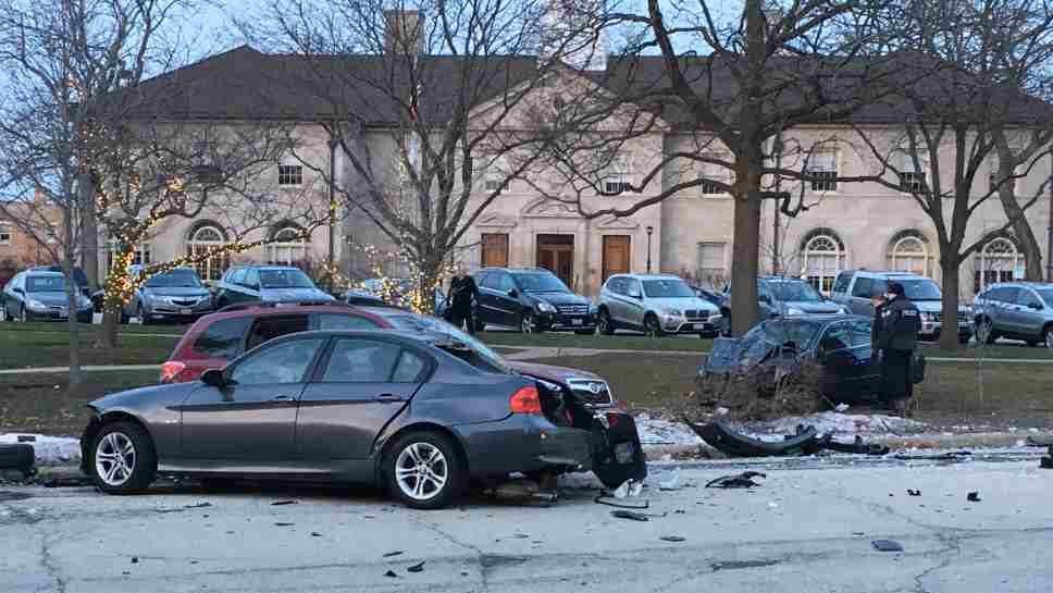 Stolen Car Crashes in Winnetka