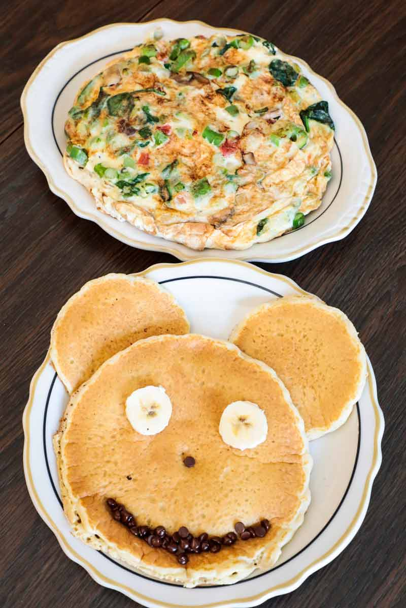 Mickey Mouse Pancakes And Egg White Vegetarian Omelette At The Country  Kitchen In Highland Park. PHOTOGRAPHY BY Joel Lerner/JWC Media