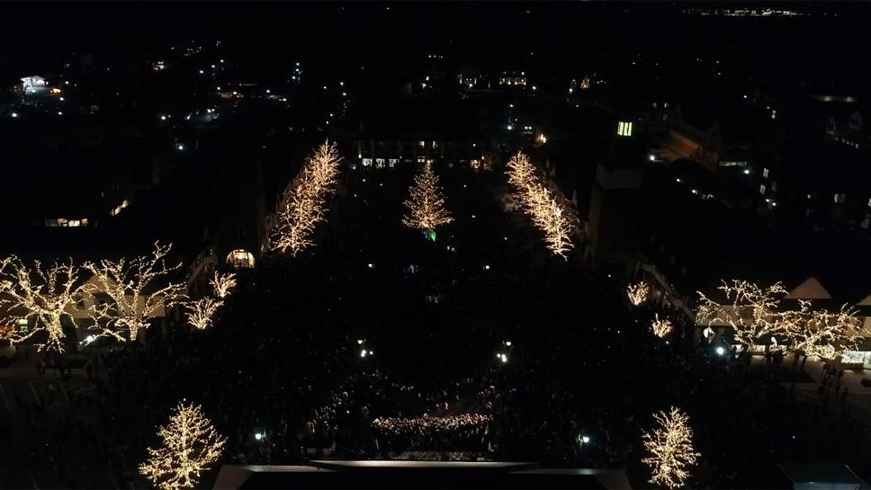 Drone Captures Lake Forest Tree Lighting