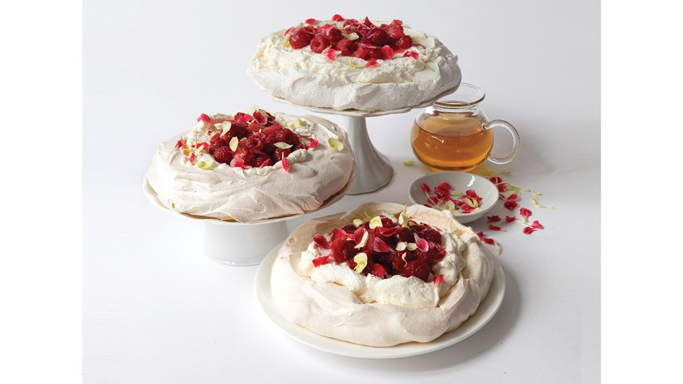 Pavlova With Red Wine Roasted Rhubarb And …