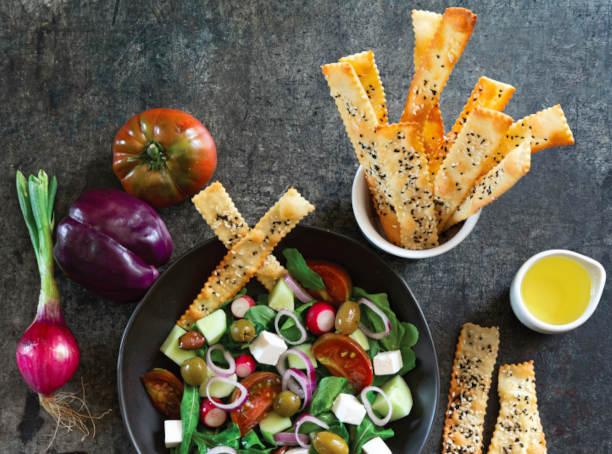 Nigella + Sesame Cracker Crisps With Simple Salad